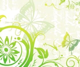 Green Floral and Butterflies vector