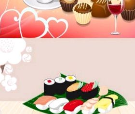 coffee and cake sushi vector