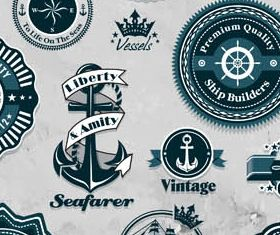 Marine Blue Labels free shiny vector