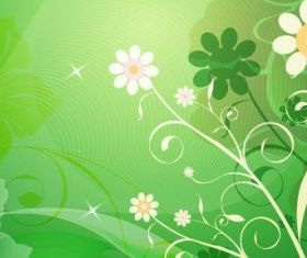 Abstract Flower with Green Background vectors graphic