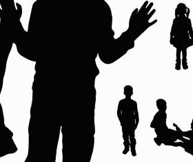Silhouettes children vectors graphics