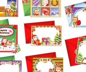 lovely christmas card set vector