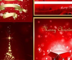 christmas red elements poster vector