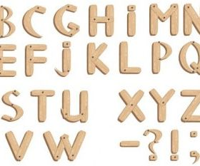 fonts wood grain english set vector