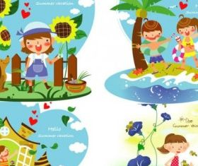 children summer vacation 2 vector