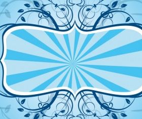 Blue Floral Frame free vector graphics
