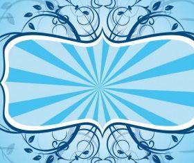 Blue Floral Frame free vector graphics