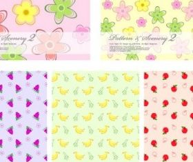 fruit and flowers background vectors