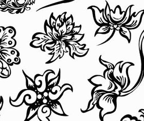 Floral Ornament Elements Mix 7 set vector