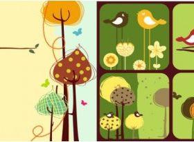colorful bird theme design vector