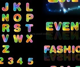 colorful letters and numbers vector graphics