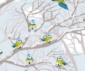 winter snow tree and birds background vector