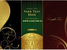 gorgeous gold pattern vector material