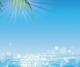 Ocean Sun Palmleaves vectors graphics