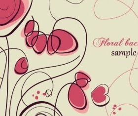 stylish handpainted flowers 2 set vector