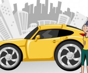 cartoon characters and car 03 vector