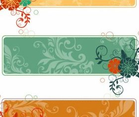 Retro Flower Banners vector graphic