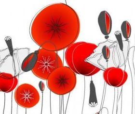 fashion flowers 3 vector set