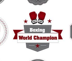 Boxing Labels graphic set vector