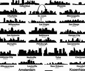 Silhouettes Skyline Cityscapes vector