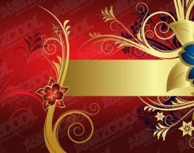 gorgeous golden flower pattern vector