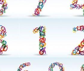 numbers digital design vectors