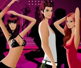 fashion dancing men and women vector