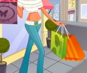fashion women shopping 8 Illustration vector