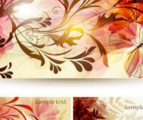 Flowers Shiny Banners Illustration vector