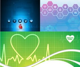Medical Bright Backgrounds 4 vector set