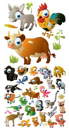 cartoon animal images vector set