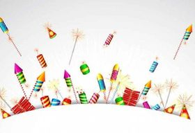Cartoon Festival fireworks set vector