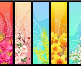 flower banner 02 design vectors