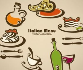cartoon handpainted food 03 set vector