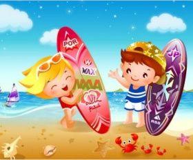 children beach surfing vector