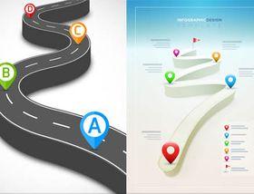 Road Infographics Backgrounds 2 vectors