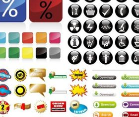 some useful button icon vector