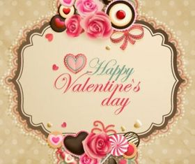 oldfashioned valentine cards 05 vectors material