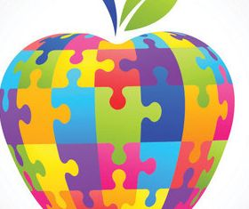 Puzzle apple vector graphics