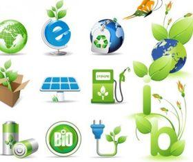 green theme icon vectors