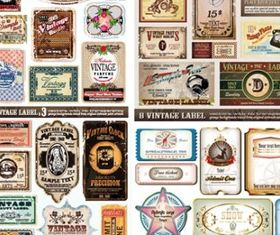retro label vector set