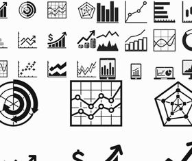 Silhouettes Diagrams Icons vector