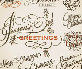 Calligraphic Christmas Elements vector graphic