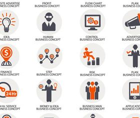 Different Business Icons art vector