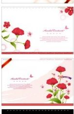 flower card template vectors material