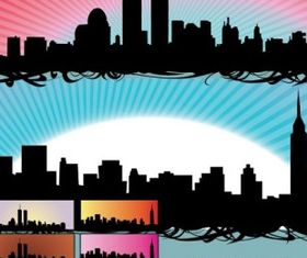 Skyline US NewYork City set vector