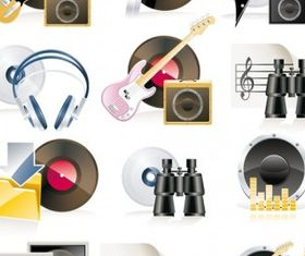 music theme icon vectors