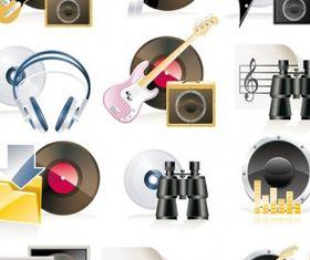 music theme icon vectors