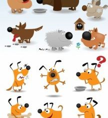 cute cartoon dog set vector