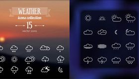Weather Wigets Icons vectors material